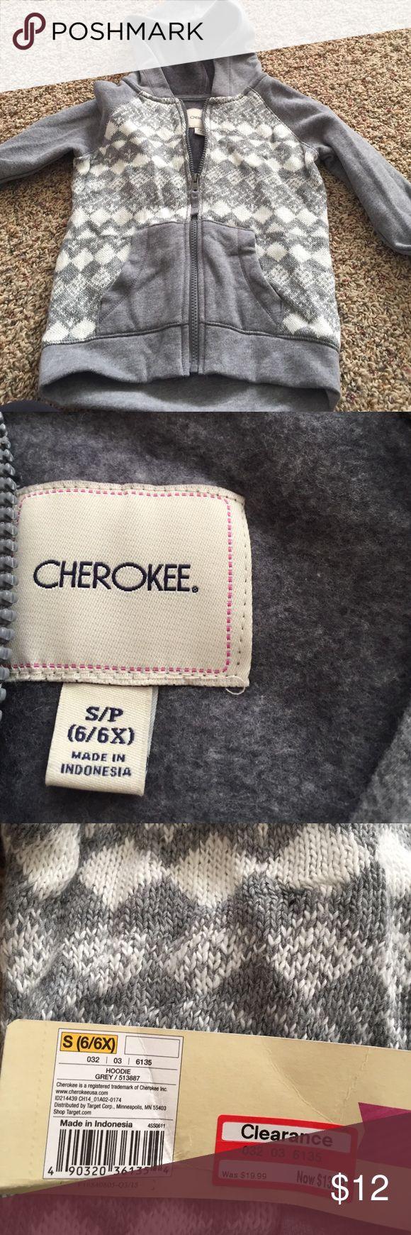 Grey and cream zip up hoodie Cherokee dressy zip up hoodie. Size 6 / 6x Cherokee Shirts & Tops Sweatshirts & Hoodies