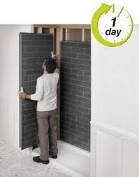 Plastic Wall Panels For Bathrooms Revolutionary Shower Bathroom Remodel Look Like Tiles By Maax