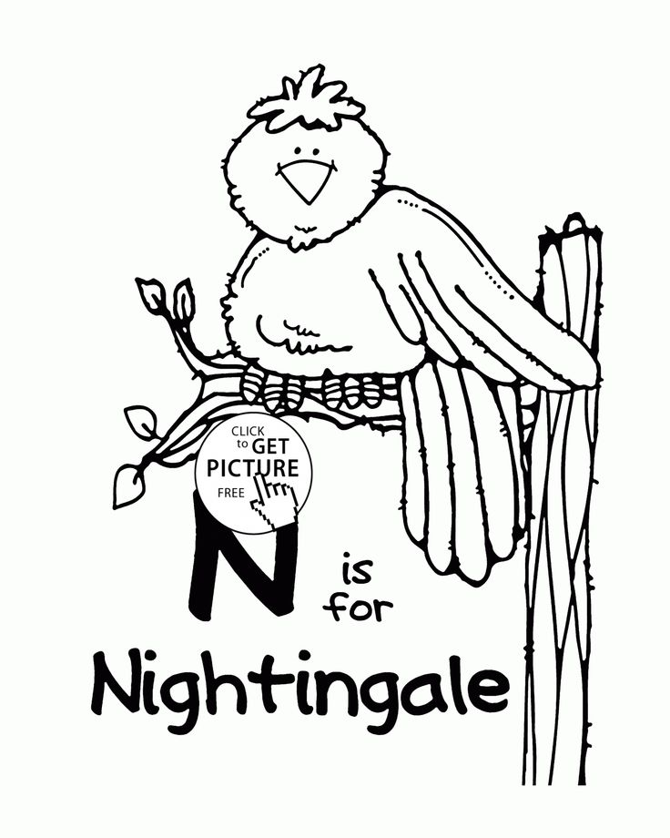 letter n alphabet coloring pages for kids letter n words printables free wuppsy