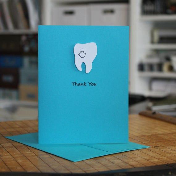 Teal Tooth Single Thank You Notecard Handmade Dentist Etsy Your Cards Greeting Card Maker Gifts For Dentist
