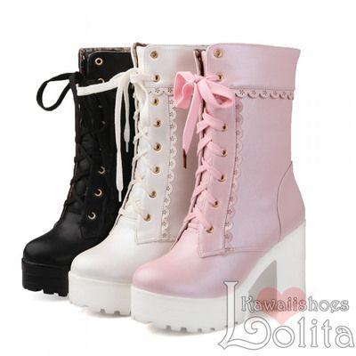 3 colors kawaii princess high-heeled short boots lk16102515