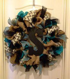 Burlap chevron deco mesh turquoise wreath by KatyFayesdoordecor | best stuff