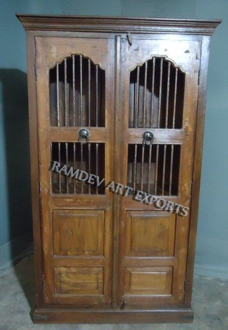 Indian Old Jali Door Wine Cabinet