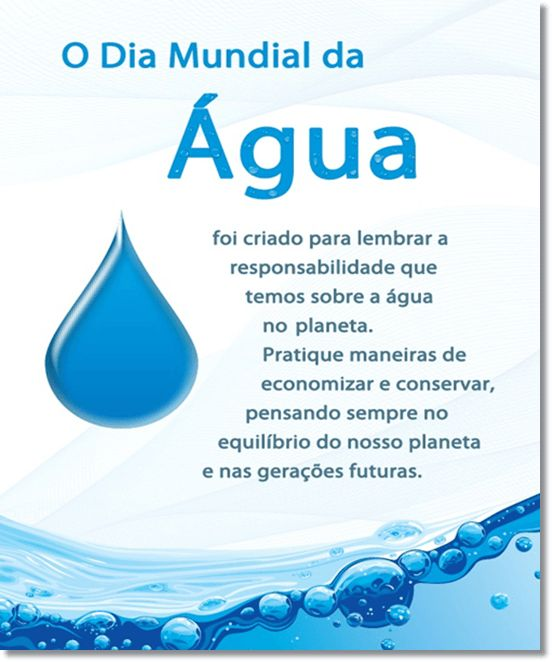 Dia Mundial da Água – 22 de março. Água é vida.