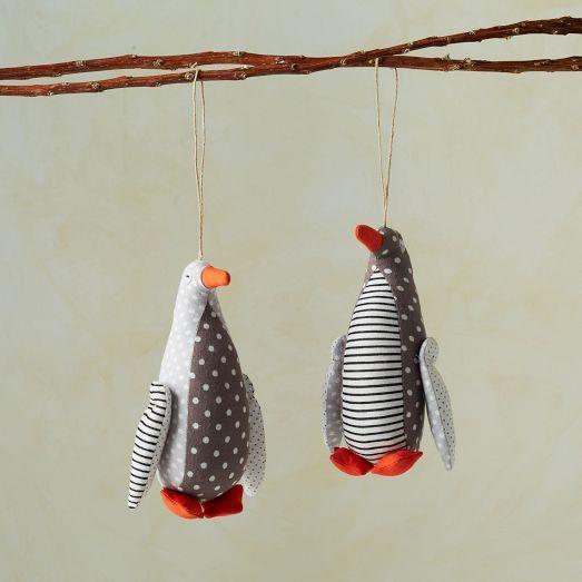 purl soho printed fabric penguin ornament   west elm