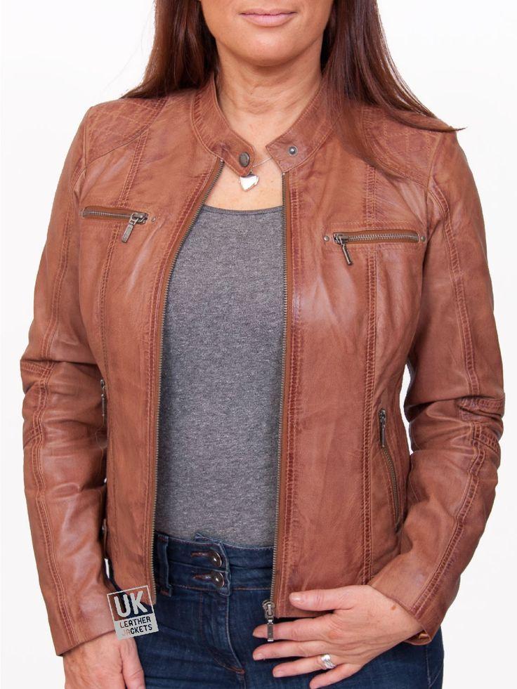Womens Leather Biker Jacket Jasmine Vintage Tan UK