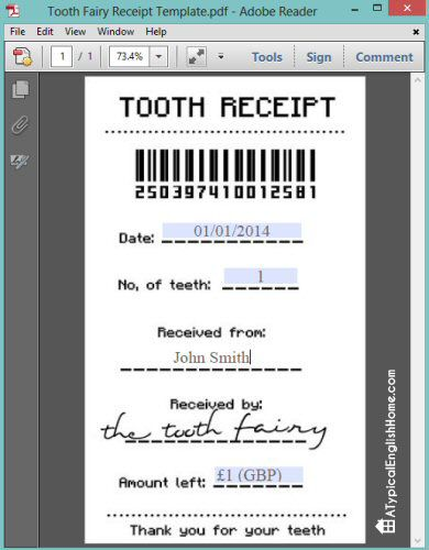 A Typical English Home: Free Tooth Fairy Receipt Template (Editable)