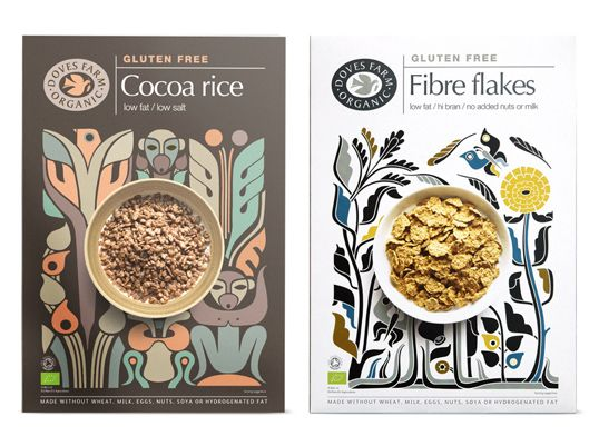after eating the cereal i'd frame the box! look at how lovely the patterns are. Design for Dove Farm Organic cereals by Studio H.