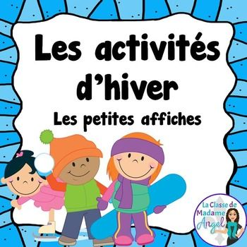 This freebie contains 12 posters of various winter activities children like to do in French. Vocabulary included is:-faire de la planche neige-lancer une boule de neige-faire un ange de neige-faire un bonhomme de neige-attraper les flocons de neige-pcher sur la glce-jouer au hockey-patiner-faire du toboggan-faire du ski-glisser-faire un fort-faire de la lugeI use these cards in several different ways: as posters on my bulletin board, as flashcards to play charades, vocabulary reference ca...