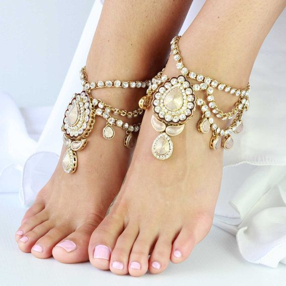 1 Pair Beautiful Gold Jewelled Anklets for Beach Wedding, Boho Brides, Bohemian barefoot sandals - 'Enchanted' on Etsy, $67.46