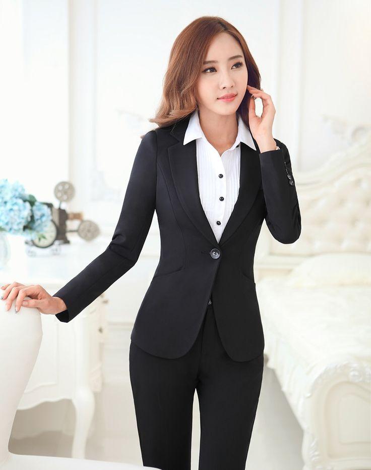 Формальные единый дизайн профессиональный деловых женщин костюмы с жакетами и брюки женские пиджаки наряды брюки комплект осень зима
