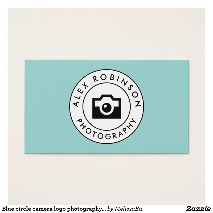 Blue circle camera logo photography business card
