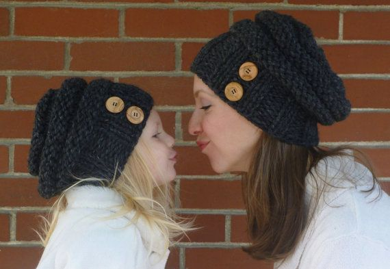 Mommy and Me Matching Charcoal Grey Knit Slouchy by BoPeepsBonnets, $82.00