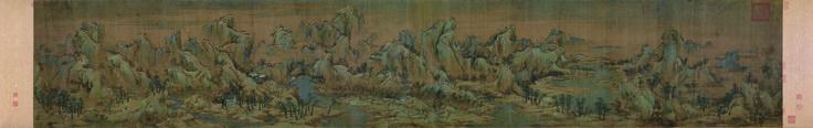 Осенние цвета вдоль рек и гор (江山秋 色 圖)  Чжао Boju (趙伯 駒, эт. 12 в.), Сун (960-1279) Чернила и цвет на шелке, 55,6 х 323,2 см, дворец-музей, Пекин