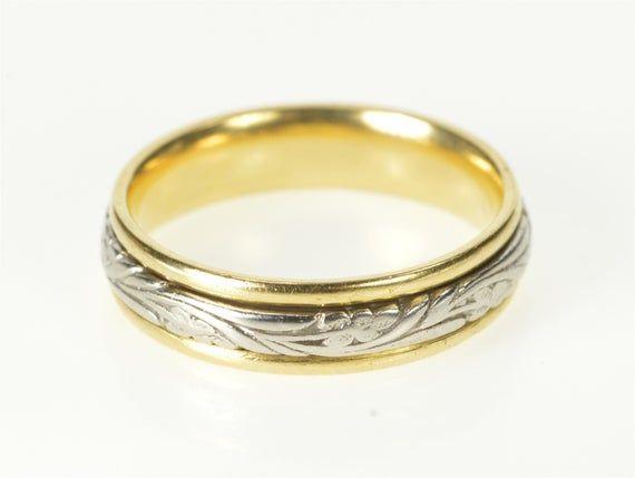 Mens 18K White Gold Light Milgrain Wedding Band 3MM