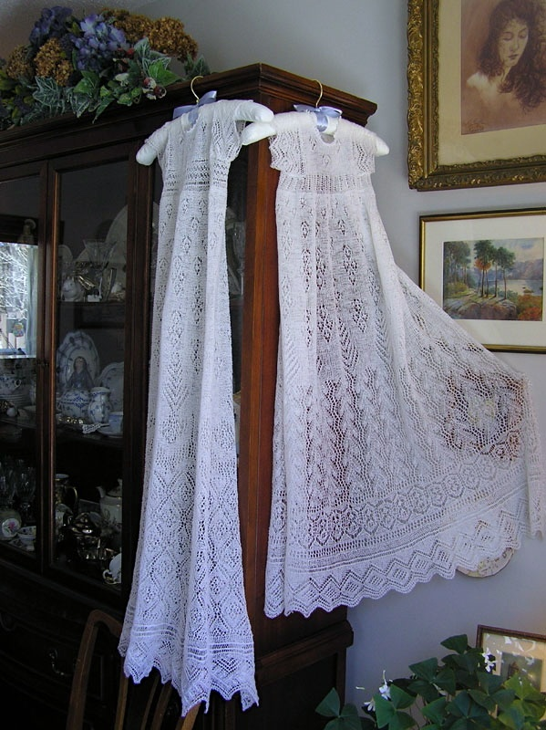 Knit these Shetland wool lace baptismal gowns for my grandchildren by combining many different lace designs contained in old books such as Heirloom Knitting. A wonderful book for any lover of lace knitting. Elsa K Black