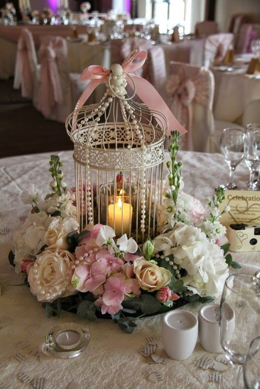 amazing pink and white birdcage wedding centerpieces