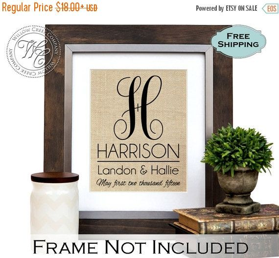 Farmhouse Decor, Monogrammed Gifts, Personalized Wedding Gift for Couple, Gift for Bride, Wedding Gift Last Name Est, Gift Ideas