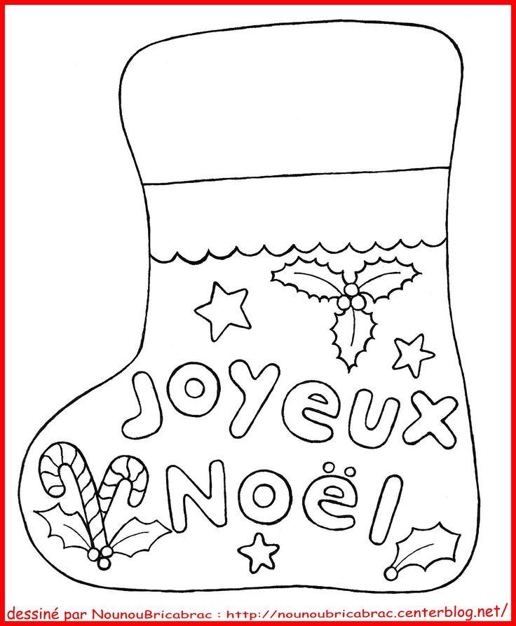Botte de Noël *Joyeux Noël*... à colorier