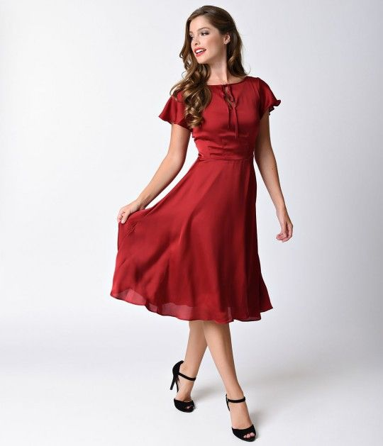 Unique Vintage 1940s Burgundy Red Cap Sleeve Formosa Swing Dress