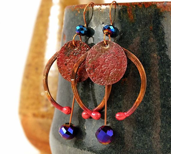 Copper Earrings, Handcrafted Copper Jewelry, Celtic Tribal Jewelry