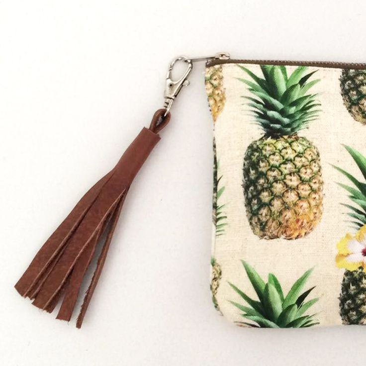 Pineapple print accessory bag with leather tassle