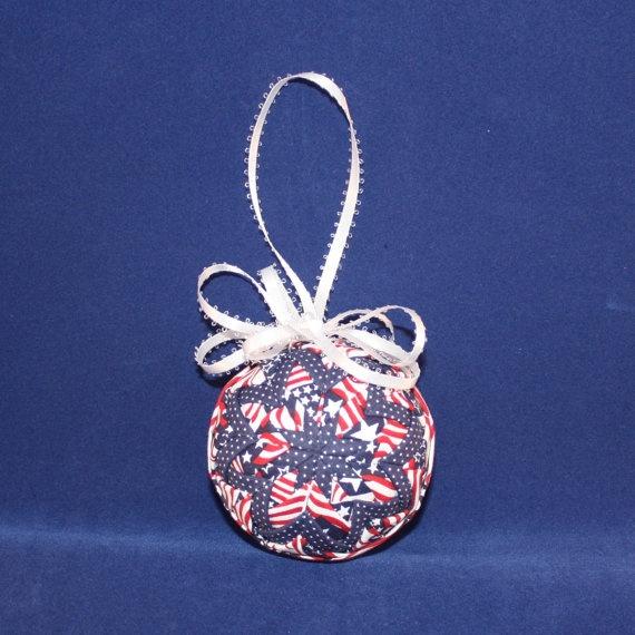 Handmade Quilted Ornament  Red White and Blue