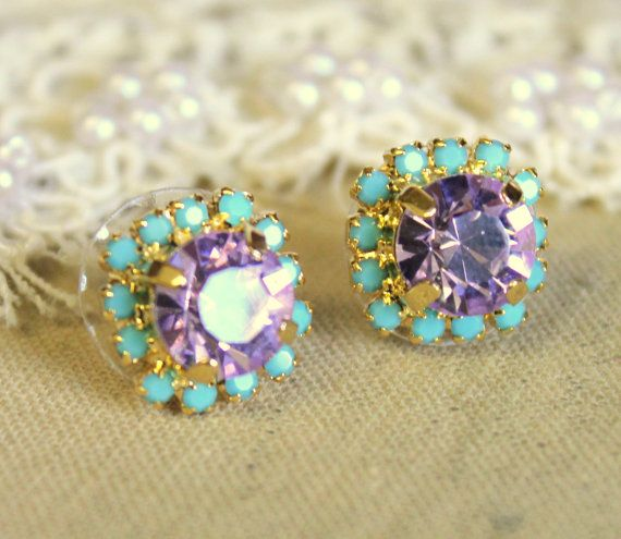 Bridesmaids gifts Crystal violet purple stud earring  by iloniti