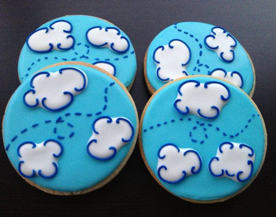 Airplane Decorated Sugar cookies 1 dozen by LaPetiteCookie on Etsy, $32.00