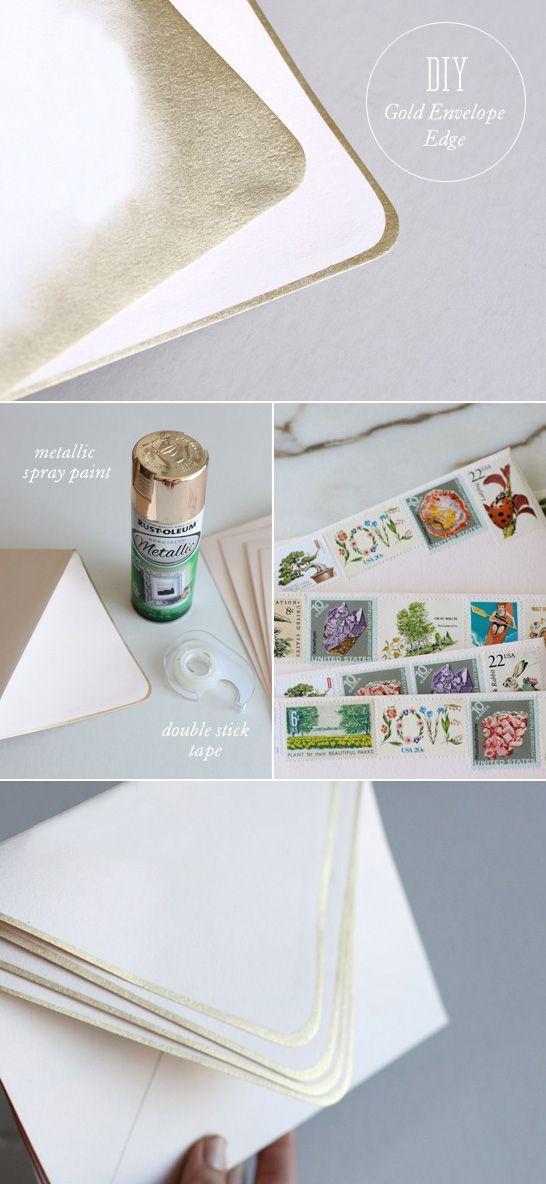 Gold-Edged Envelopes   Awesome DIY Holiday Card hack