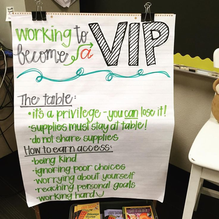 "Celebrate positive choices with a VIP table! I love the anchor chart that tells everyone exactly what needs to be done to ""earn access""!"