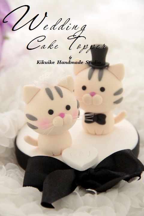 Cat and Kitty Wedding Cake Topperk802 von kikuike auf Etsy   – Backen