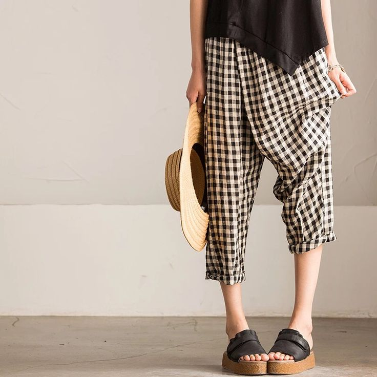Grid summer pants