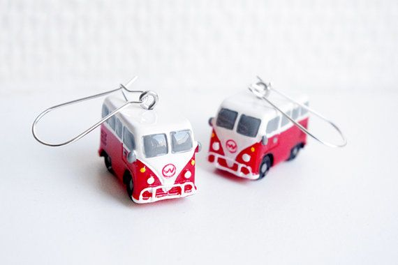 SUPER KAWAII COLLECTION:Volkswagen Mini Bus earring,camper van earring,car earring,small cute Christmas gift.birthday gift,for car lovers