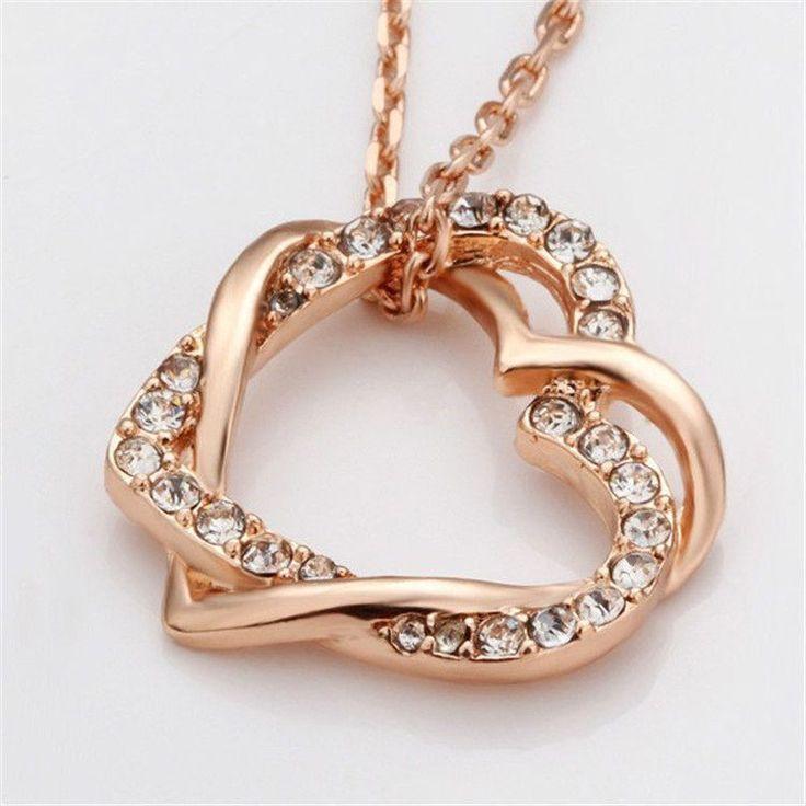 Anhänger��Halskette Damen Herz rose gold 18Karat vergoldet Liebe Geschenk Kette