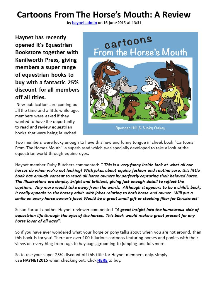 Reviews of Cartoons from the Horse's Mouth by blog members of Haynet.