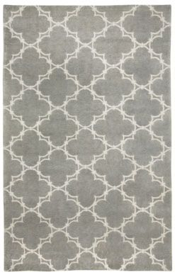 Quatrefoil Gray/Ivory wool 7x9