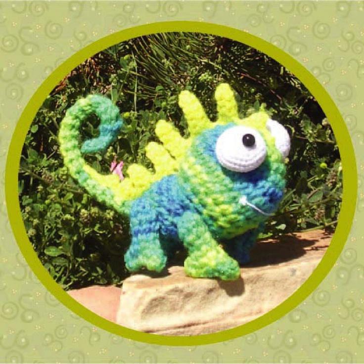 Digital PDF Crochet Pattern LEON the Chameleon Amigurumi by Peggytoes Lizard Gecko Dragon Toy Doll Stuffy Reptile