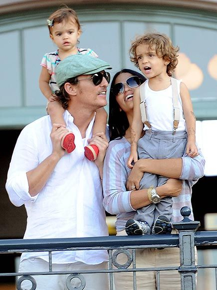 Levi McConaughey, who turns 3 on July 7, makes a newsboy-chic fashion statement on June 15 while visiting Disneyland in Anaheim, Calif., with dad Matthew McConaughey, mom Camila Alves and little sister Vida, 1.