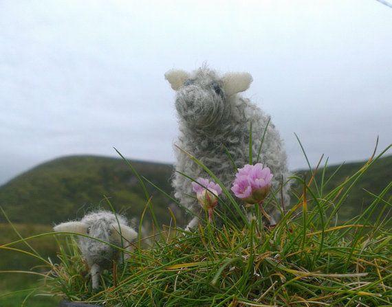 Needle felt sheep Ewe with her lamb Happy to by WildAtlanticCraft