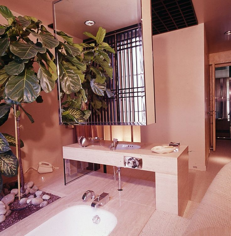 The Bathroom Of A 1975 Deco Interior Designed By Franois Catroux Featuring Floating