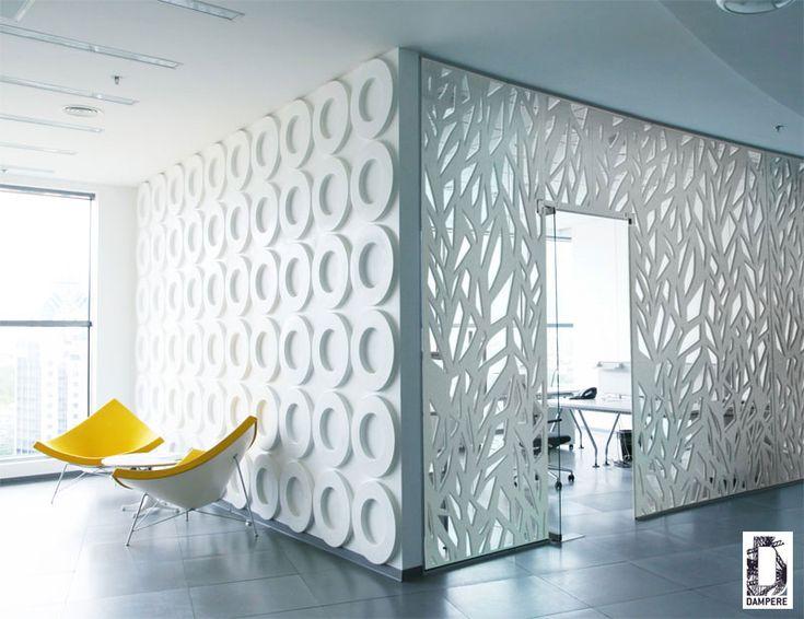 Habillage d'une salle de réunion avec une résille en découpe laser