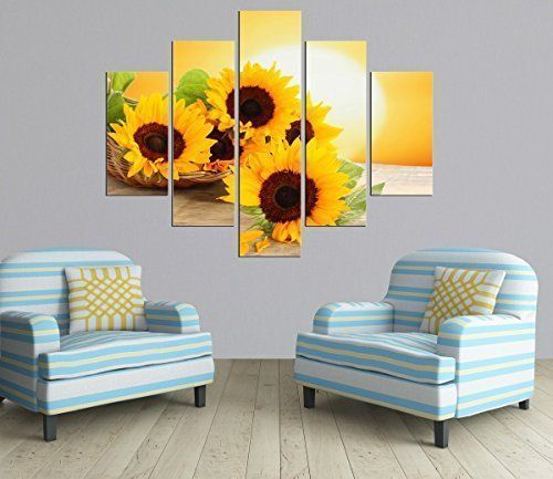 I really like this pretty piece of sunflower home decor. 5 Panel Sunrise Landscape Oil Painting Modern sunflower Picture Canvas Prints for Living Room D�cor No Frame