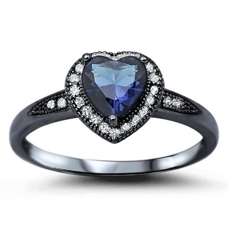 Heart Ring Promsie Ring Black Gold 925 Sterling Silver Halo Heart Promise Ring 1.20CT Deep Blue Sapphire Heart Pave Clear CZ Love Gift
