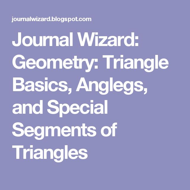 Journal Wizard: Geometry: Triangle Basics, Anglegs, and Special Segments of Triangles