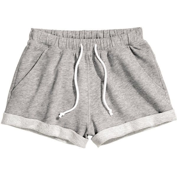 H&M Sweatshirt shorts (£5) ❤ liked on Polyvore featuring shorts, bottoms, pants, short, grey, grey shorts, short shorts, gray shorts, h&m shorts and cotton shorts