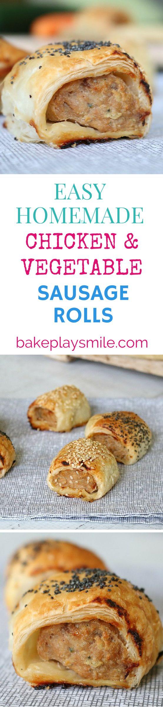 I love these Homemade Chicken and Vegetable Sausage Rolls - they're so good for lunch boxes (and you can hide any vegetables in there that you like!). #sausagerolls #chicken #vegetable #thermomix