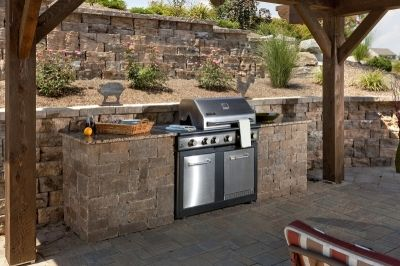 A techo bloc muro naturale retaining wall paver patio and - Cucina in muratura per esterni con barbecue ...