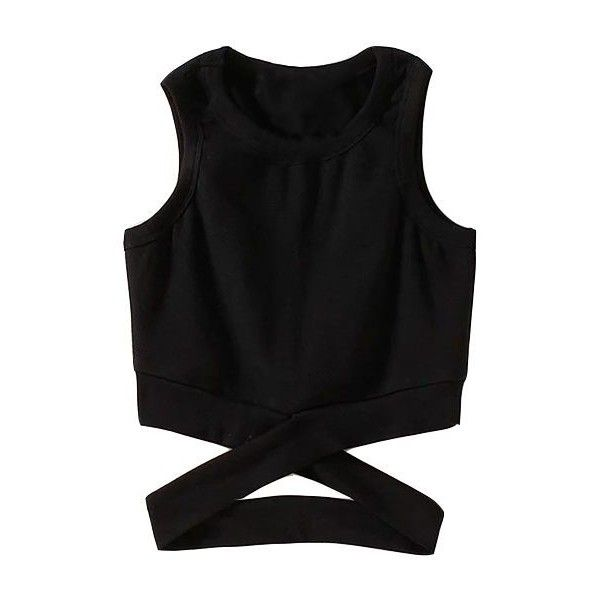 Criss Cross Design Round Neck Black Tank Top (£18) ❤ liked on Polyvore featuring tops, crop tops, shirts, black, print crop tops, collared crop top, cami shirt, short collar shirt and criss-cross crop tops