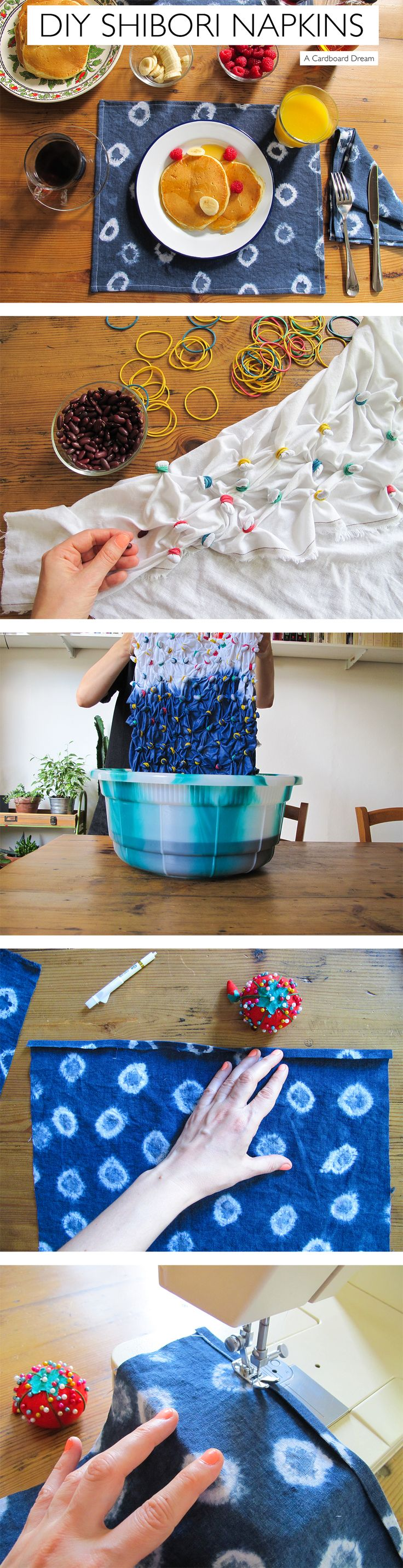 DIY // HOW TO make napkins using shibori technique // Very easy // Full tutorial on A Cardboard Dream blog